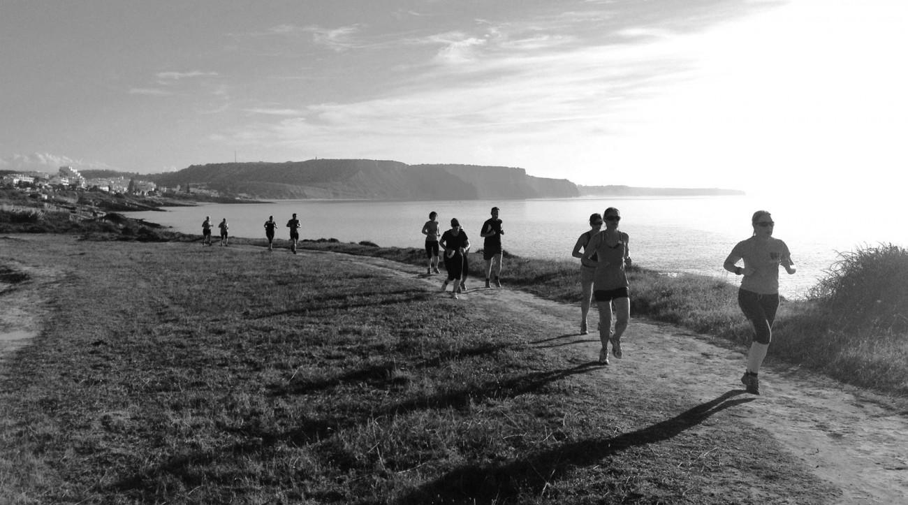 Coastal trail running in Luz, Portugal